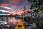 We paddled out from Gorman Chairback Lodge to a brilliant sunrise over Long Pond. Mornings like these make you long to stay in the Maine Woods.