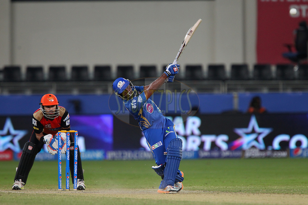 Ambati Rayudu of the Mumbai Indians during match 20 of the Pepsi Indian Premier League Season 2014 between the Mumbai Indians and the Sunrisers Hyderabad held at the Dubai International Stadium, Dubai, United Arab Emirates on the 30th April 2014<br /> <br /> Photo by Ron Gaunt / IPL / SPORTZPICS