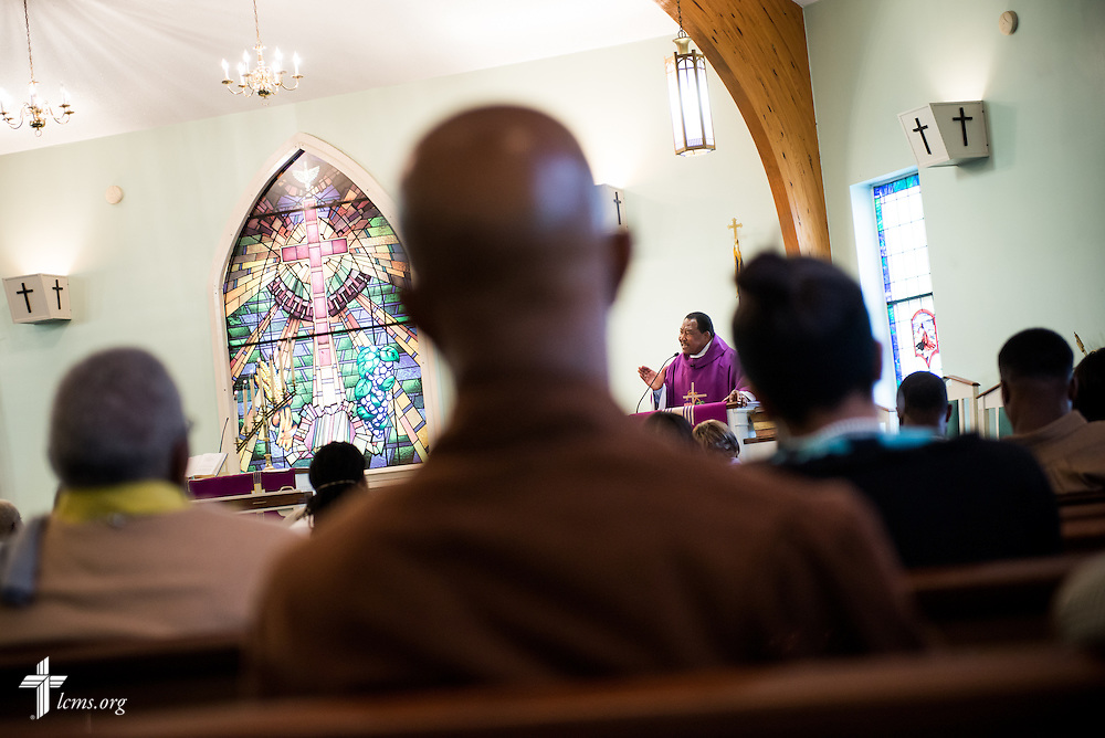 The Rev. Ulmer Marshall delivers his sermon during worship at Trinity Lutheran Church on Sunday, April 6, 2014, in Mobile, Ala. LCMS Communications/Erik M. Lunsford