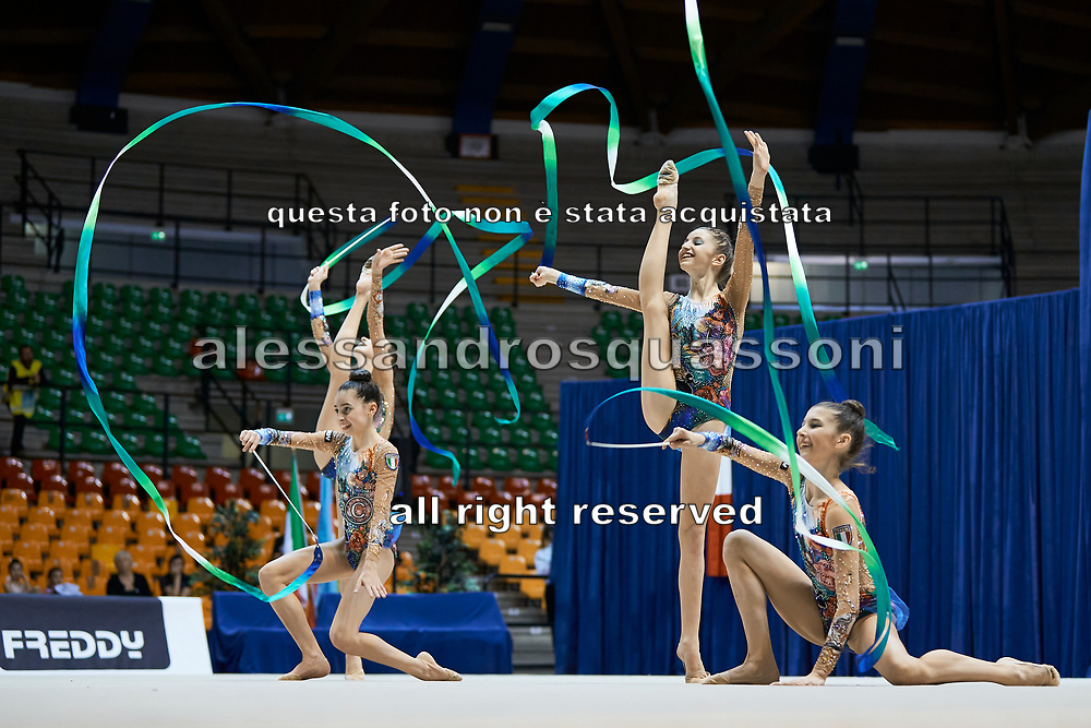 "Italian rhythmic gymnastics junior group during the ""7th tournament city of Desio"", 09 March 2019."