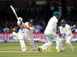 England's Ben Stokes hits the ball into a fielders foot during day three of the First NatWest Test Series match at Lord's, London.