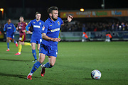 AFC Wimbledon defender Luke O'Neill (2) dribbling during the EFL Sky Bet League 1 match between AFC Wimbledon and Ipswich Town at the Cherry Red Records Stadium, Kingston, England on 11 February 2020.