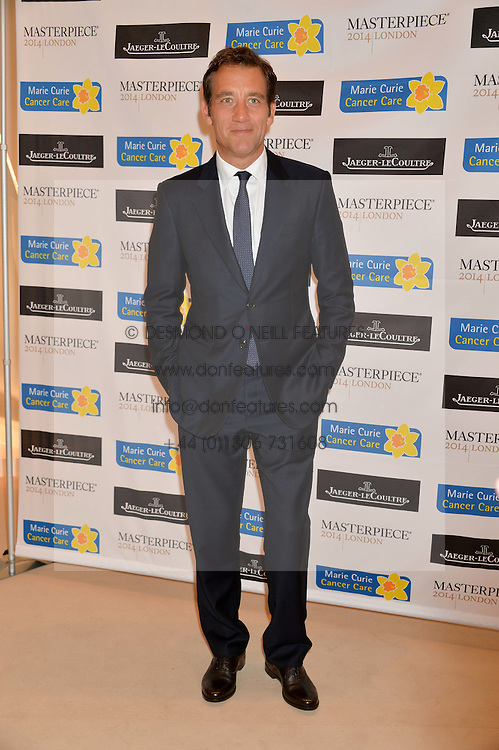 CLIVE OWEN at the Masterpiece Marie Curie Party supported by Jeager-LeCoultre held at the South Grounds of The Royal Hospital Chelsea, London on 30th June 2014.