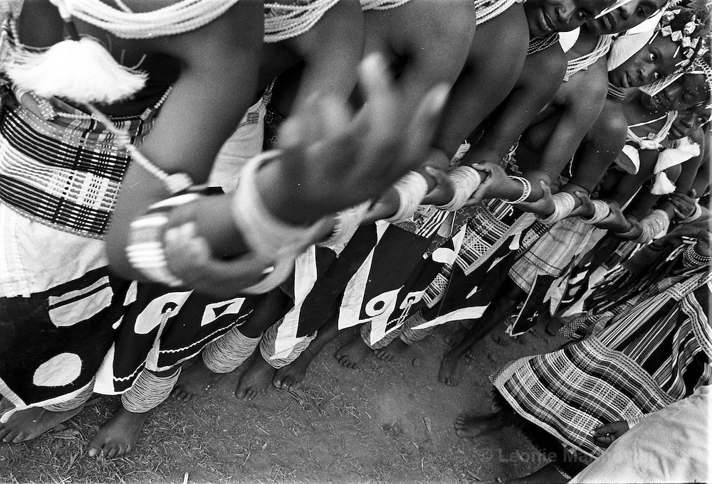 "IPLM0024 , South Africa, Venda, June 2001. Young ""maidens"" take part in the Domba dance. The domba is part of an initiation process, some already have children though traditionally they are meant to be virgins."