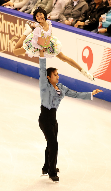(Ottawa, ON---1 November 2008)  Yuko Kawaguchi and Alexander Smirnov of Russia compete in the pairs free skating at the 2008 HomeSense Skate Canada International figure skating competition. They finished first. Photograph copyright Sean Burges/Mundo Sport Images (www.msievents.com).