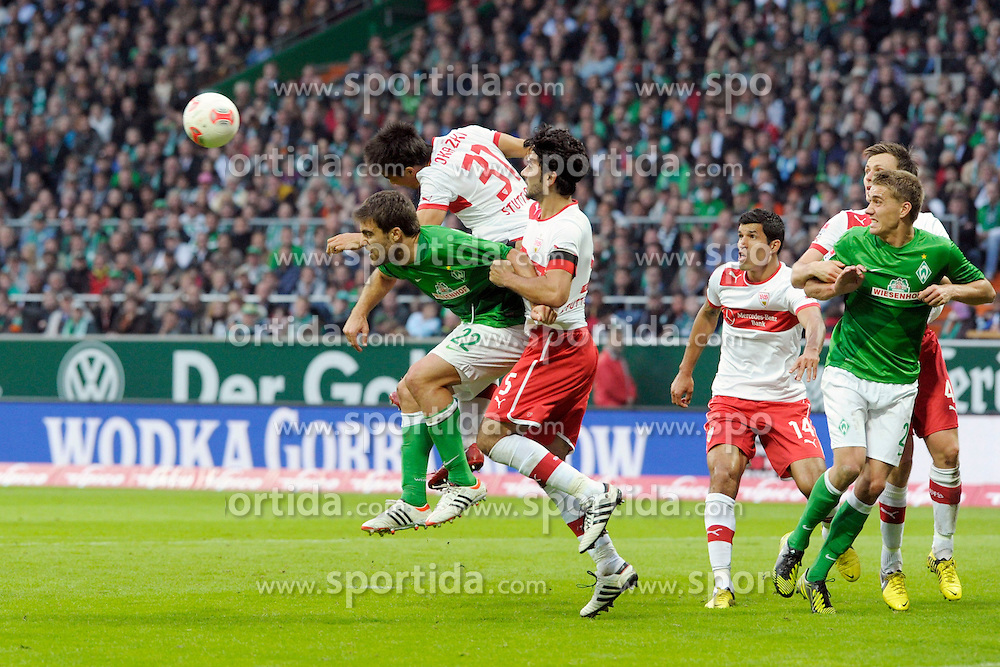 23.09.2012, Weserstadion, Bremen, GER, 1. FBL, SV Werder Bremen vs VFB Stuttgart, 4. Runde, im Bild Diesen Eckball fuer Bremen kann Shinji OKAZAKI ( VfB Stuttgart ) vor SOKRATIS ( Werder Bremen ) abwehren // during the German Bundesliga 4th round match between SV Werder Bremen and Stuttgart at the Weserstadium, Bremen, Germany on 2012/09/23. EXPA Pictures © 2012, PhotoCredit: EXPA/ Eibner/ Stefan Schmidbauer..***** ATTENTION - OUT OF GER *****