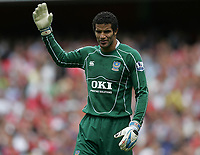 Photo: Lee Earle.<br /> Arsenal v Portsmouth. The FA Barclays Premiership. 02/09/2007.Portsmouth keeper David James looks frustrated after Arsenal scored their second.