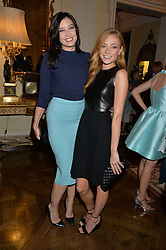 Left to right, DAISY LOWE and CLARA PAGET  at a party hosed by the US Ambassador to the UK Matthew Barzun, his wife Brooke Barzun and editor of UK Vogue Alexandra Shulman in association with J Crew to celebrate London Fashion Week held at Winfield House, Regent's Park, London on 16th September 2014.
