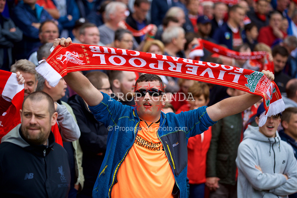 "LIVERPOOL, ENGLAND - Saturday, August 19, 2017: Liverpool supporters sing ""You'll Never Walk Alone"" before the FA Premier League match between Liverpool and Crystal Palace at Anfield. (Pic by David Rawcliffe/Propaganda)"