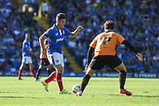 Portsmouth match winner Conor Chaplin on the ball in midfield during the Sky Bet League 2 match between Portsmouth and Barnet at Fratton Park, Portsmouth, England on 12 September 2015. Photo by David Charbit.