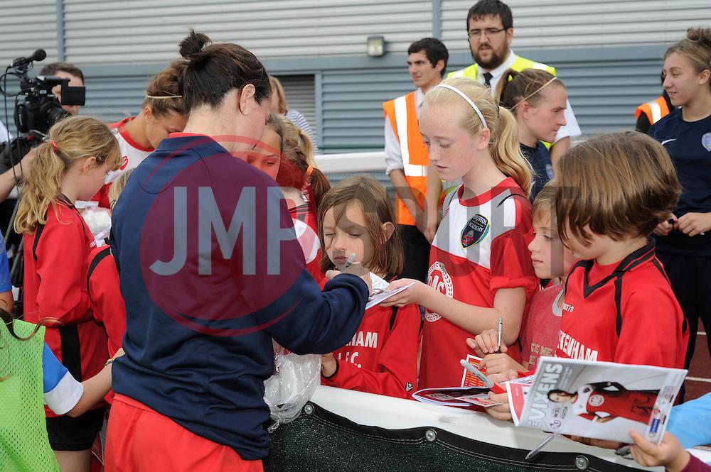 Bristol Academy Womens' Natalia Pablos Sanchon signs autographs - Photo mandatory by-line: Dougie Allward/JMP - Mobile: 07966 386802 - 28/09/2014 - SPORT - Women's Football - Bristol - SGS Wise Campus - Bristol Academy Women's v Manchester City Women's - Women's Super League