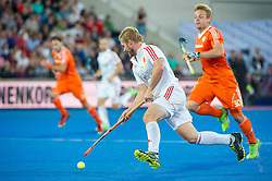 England's Ashley Jackson. England v Netherlands  - Unibet EuroHockey Championships, Lee Valley Hockey & Tennis Centre, London, UK on 23 August 2015. Photo: Simon Parker