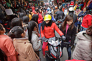 Traffic in market area in Hanoi, Vietnam on Jan 11, 2013..(Photo by Kuni Takahashi)
