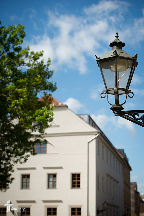 A streetlamp frames The International Lutheran Center at the Old Latin School on Thursday, May 7, 2015,  during the International Conference on Confessional Leadership in the 21st Century in Wittenberg, Germany. LCMS Communications/Erik M. Lunsford