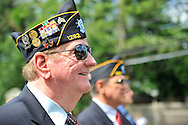 American Legionnaires marching in Merrick Memorial Day Parade on May 28, 2012, on Long Island, New York, USA. America's war heroes are honored on this National Holiday.