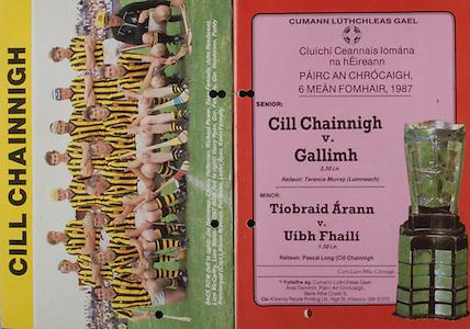 All Ireland Senior Hurling Championship Final, .06.09.1987, 09.06.1987, 6th September 1987, .Kilkenny v Galway, .Galway 1-12, Kilkenny 0-9,.06091987AISHCF, ..Senior Kilkenny v Galway,.Minor Tipperary v Offaly,..Kilkenny, Back row from left, Joe Hennessy, Christy Heffernan, Richard Power, Sean Fennelly, John Henderson, Liam McCarthy, Liam Walsh, Front row from left, Harry Ryan, Ger Fennily, Ger Henderson, Paddy Prendergast captain, Kieran Brennan, Pat Walsh, Lester Ryan, Kevin Fennelly, .