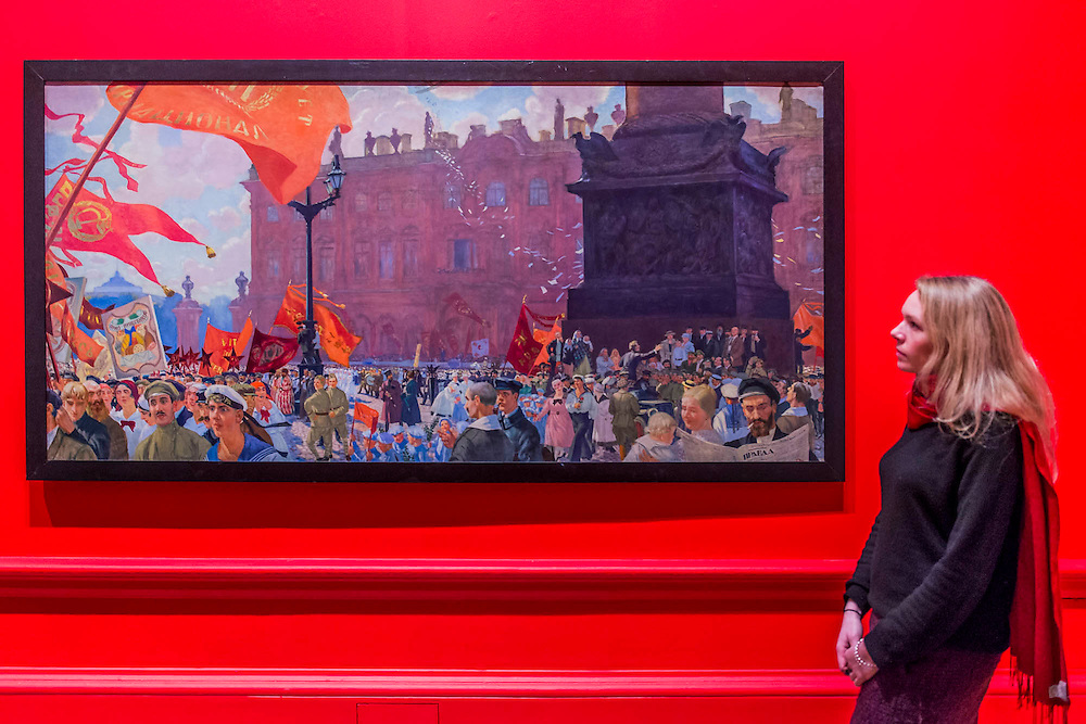 Demonstration on Uritsky Square, 1921, by Boris Kustodiev - Revolution: Russian Art 1917-1932 marks the centenary of the Russian Revolution.  This landmark exhibition focuses on the momentous period in Russian history between 1917, the year of the October Revolution, and 1932 when Stalin began his violent suppression of the Avant-Garde. Avant-Garde artists such as Chagall, Kandinsky, Malevich and Tatlin feature alongside the Socialist Realism of Brodsky, Deineka, Mukhina and Samokhvalov amongst others. The exhibition runs at the Royal Academy of Arts from 11 February – 17 April 2017.