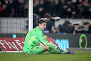 Eldin Jakupović (Hull City) sits looking dejected after Arsenal score during the The FA Cup fifth round match between Hull City and Arsenal at the KC Stadium, Kingston upon Hull, England on 8 March 2016. Photo by Mark P Doherty.