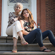 WASHINGTON,DC-AUG21: Sheila Thomas (left) and Kate Billingsley outside the Georgetown library in Washington, DC, August 21, 2017. Sheila is presumed to be the great-great-great granddaughter of Roger B. Taney, the U.S. Supreme Court chief justice who said blacks had no rights and could not be U.S. citizens. Kate Billingsley is a descendant of Taney, her father is Charles Taney III, a distant nephew of Roger Brooke Taney.  Kate and Sheila would be distant cousins. (Photo by Evelyn Hockstein/For The Washington Post)