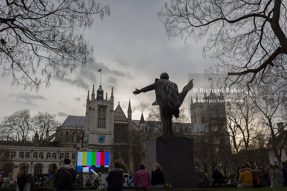 Colour bars on a giant TV screen seen in Parliament Square and outside Westminster Abbey, on 20th February 2017, in London, England. SMPTE color bars is a television test pattern used where the NTSC video standard is utilized, including countries in North America. The Society of Motion Picture and Television Engineers (SMPTE) refers to this test pattern as Engineering Guideline EG 1-1990.
