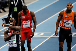 06-03-2011 ATHELETICS: EUROPEAN ATHLETICS INDOOR CHAMPIONSHIPS: PARIS<br /> European Athletics Indoor Championships Paris / (L-R) Dwain Chambers GBR, Ryan Mosely AUT, Brian Mariano<br /> © Ronald Hoogendoorn Photography