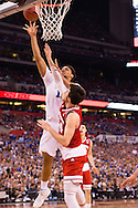 06 APR 2015:  Center Jahlil Okafor (15) of Duke University shoot over Forward Frank Kaminsky (44) of the University of Wisconsin during the championship game at the 2015 NCAA Men's DI Basketball Final Four in Indianapolis, IN. Duke defeated Wisconsin 68-63 to win the national title. Brett Wilhelm/NCAA Photos