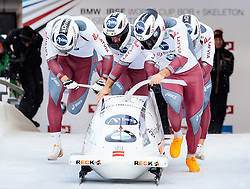 17.12.2017, Olympia Eisbahn, Igls, AUT, BMW IBSF Weltcup und EM, Igls, Viererbob, 1. Lauf, im Bild Oskars Kibermanis, Janis Jansons, Matiss Miknis, Raivis Zirups (LAT) // KIBERMANIS/JANSONS/MIKNIS/ZIRUPS (LAT)# during 1st run of four-man Bobsleigh competition of BMW IBSF World Cup and European Championship at the Olympia Eisbahn in Igls, Austria on 2017/12/17. EXPA Pictures © 2017, PhotoCredit: EXPA/ Johann Groder