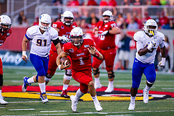 NORMAL, IL - September 07: Brady Davis on a keep up the middle during a college football game between the ISU (Illinois State University) Redbirds and the Morehead State Eagles on September 07 2019 at Hancock Stadium in Normal, IL. (Photo by Alan Look)
