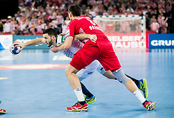 Romain Lagarde of France vs Marko Kopljar of Croatia during handball match between National teams of Croatia and France on Day 7 in Main Round of Men's EHF EURO 2018, on January 24, 2018 in Arena Zagreb, Zagreb, Croatia.  Photo by Vid Ponikvar / Sportida