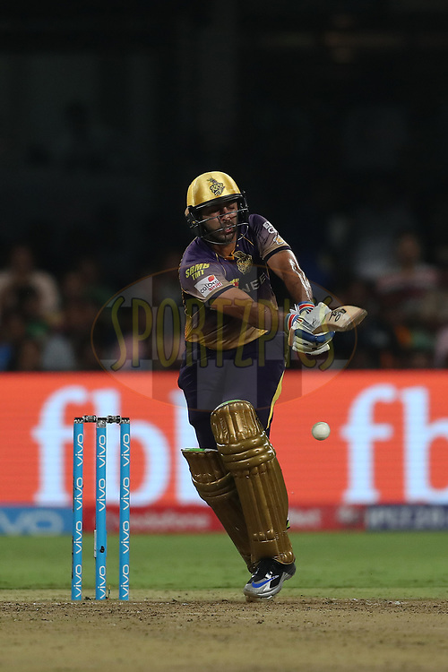 Suryakumar Yadav of the Kolkata Knight Riders during the 2nd qualifier match of the Vivo 2017 Indian Premier League between the Mumbai Indians and the Kolkata Knight Riders held at the M.Chinnaswamy Stadium in Bangalore, India on the 19th May 2017<br /> <br /> Photo by Ron Gaunt - Sportzpics - IPL