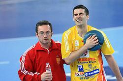 Kiril Lazarov (7) of Macedonia injured during 21st Men's World Handball Championship preliminary Group C match between FYR Macedonia and Germany, on January 21, 2009, in Arena Varazdin, Varazdin, Croatia. (Photo by Vid Ponikvar / Sportida)
