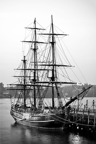 The HMS Bounty at the Portsmouth State Docks during the Tall Ships Celebration, 2010. <br />
