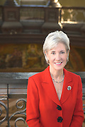 Portrait of Democratic Kansas Governor Kathleen Sebelius at the Kansas State House in the Capitol's Dome.  She is currently the Secretary of Health and Human Services and was the Kansas Governor from 2003 - 2009.
