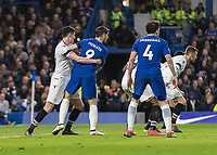 Football - 2017 / 2018 Premier League - Chelsea vs Crystal Palace<br /> <br /> Martin Kelly (Crystal Palace) has a tight hold on Alvaro Morata (Chelsea FC) in the penalty box as the cross comes in at Stamford Bridge <br /> <br /> COLORSPORT/DANIEL BEARHAM