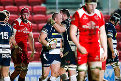 Bristol Rugby replacement Ross McMillan celebrates with Number 8 James Phillips after scoring a try - Mandatory byline: Rogan Thomson/JMP - 22/01/2016 - RUGBY UNION - Ashton Gate Stadium - Bristol, England - Bristol Rugby v Ulster A - British & Irish Cup.