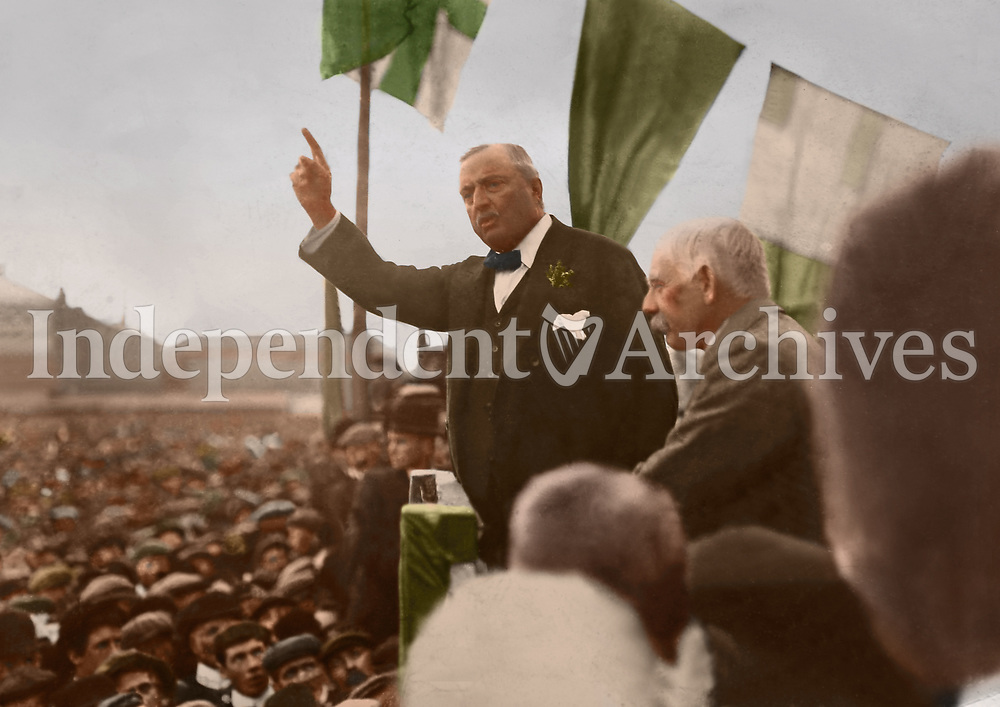 Irish Parliamentary Party leader John Redmond addresses a mass rally, c. 1912-15. Location unknown. (Part of the Independent Newspapers Ireland/NLI Collection) Colourised by Tom Marshall (PhotograFix).