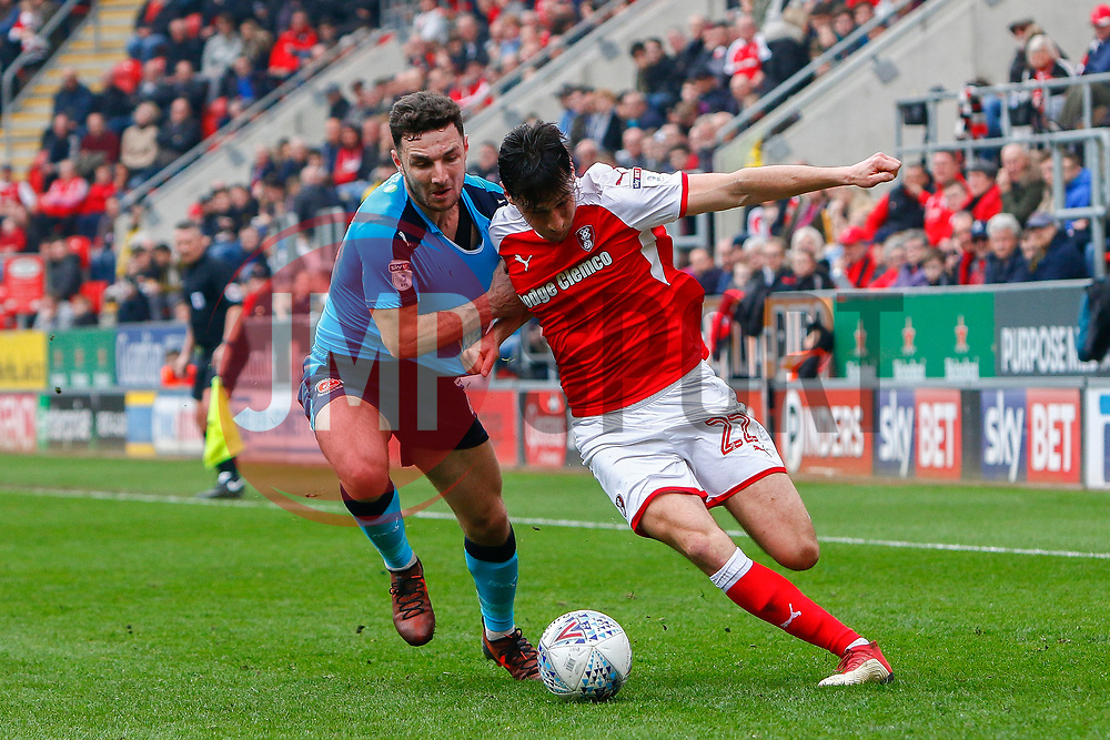 Joe Newell of Rotherham United holds off a challenge from Lewis Coyle of Fleetwood Town - Mandatory by-line: Ryan Crockett/JMP - 07/04/2018 - FOOTBALL - Aesseal New York Stadium - Rotherham, England - Rotherham United v Fleetwood Town - Sky Bet League One