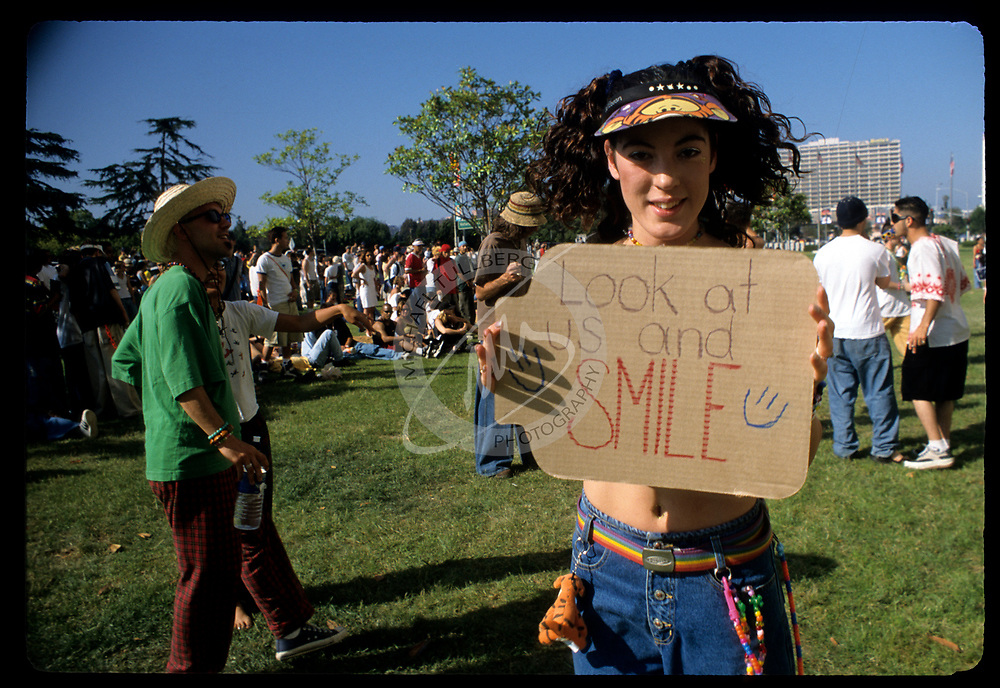"Raver girl with a good message at the ""Celebrate Life"" protest rave at the Federal Building in Los Angeles."