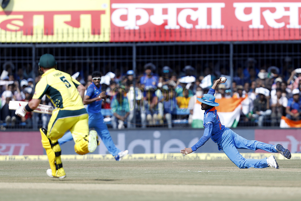 Manish Pandey of India throws the ball  during the 3rd One Day International between India and Australia held at the Holkar Stadium in Indore on the 24th  September 2017<br /> <br /> Photo by Arjun Singh / BCCI / SPORTZPICS