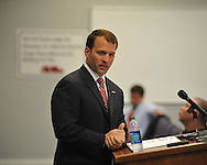 Ole Miss athletic director Ross Bjork discusses the firings of Ole Miss women's basketball head coach Adrian Wiggins and assistants Kenya and Michael Landers at a press conference in Oxford, Miss. on Monday, October 22, 2012.