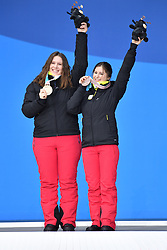 SANA Eleonor B2 BEL Guide: SANA Chloe, ParaSkiAlpin, Para Alpine Skiing, Podium at PyeongChang2018 Winter Paralympic Games, South Korea.