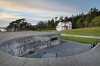 Admiralty Head Lighthouse, Battery Turman is in the foreground. Fort Casey State Park on Whidbey Island, Washington.