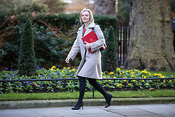 © Licensed to London News Pictures. 16/01/2018. London, UK. Chief Secretary to the Treasury Elizabeth Truss arrives on Downing Street for the weekly Cabinet meeting. Photo credit: Rob Pinney/LNP