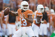 AUSTIN, TX - SEPTEMBER 19:  Jerrod Heard #13 of the Texas Longhorns drops back to pass against the California Golden Bears on September 19, 2015 at Darrell K Royal-Texas Memorial Stadium in Austin, Texas.  (Photo by Cooper Neill/Getty Images) *** Local Caption *** Jerrod Heard