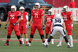 02 September 2017:  Erik Mikkelson, Jake Kolbe, Drew Himmelman, James Robinson, Connor Andras and Tylor Petkovich take their positions on the field during the Butler Bulldogs at  Illinois State Redbirds Football game at Hancock Stadium in Normal IL (Photo by Alan Look)