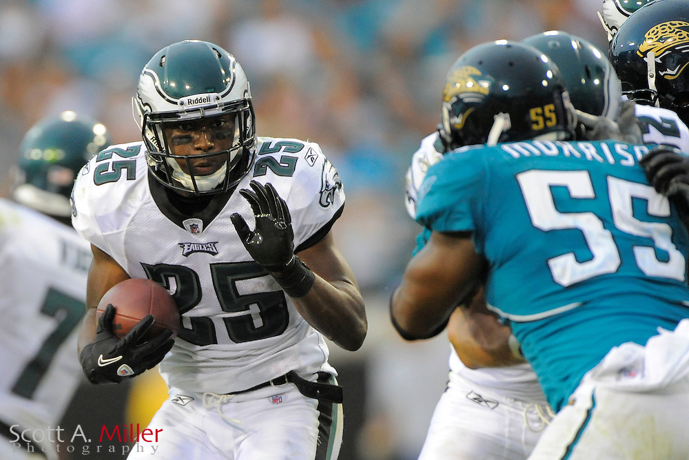 Sept. 26, 2010; Jacksonville, FL, USA; Philadelphia Eagles running back LeSean McCoy (25) heads upfield during the second half of the Eagles game against the Jacksonville Jaguars at EverBank Field. ©2010 Scott A. Miller