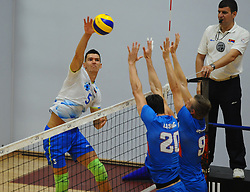 Alen Sket of Slovenia during friendly volleyball match between National teams of Serbia and Slovenia, on August 18, 2017, in Belgrade, Serbia. Photo by Nebojsa Parausic / MN press / Sportida