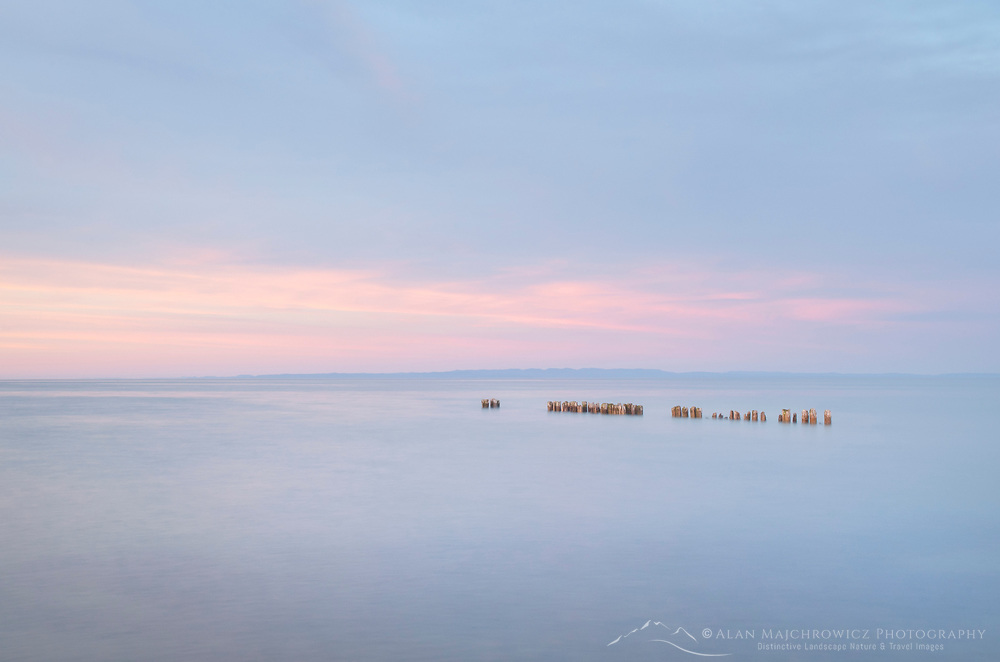 Sunset over Lake Superior seen from beach at Whitefish Point Upper Peninsula Michigan