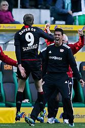 15.10.2011,  BorussiaPark, Mönchengladbach, GER, 1.FBL, Borussia Mönchengladbach vs Bayer 04 Leverkusen, im Bild.Torjubel / Jubel  nach dem 2:2 durch Andre Schürrle (Leverkusen #9) (L) mit Michael Ballack (Leverkusen #13) (R) ..// during the 1.FBL, Borussia Mönchengladbach vs Bayer 04 Leverkusen on 2011/10/13, BorussiaPark, Mönchengladbach, Germany. EXPA Pictures © 2011, PhotoCredit: EXPA/ nph/  Mueller *** Local Caption ***       ****** out of GER / CRO  / BEL ******