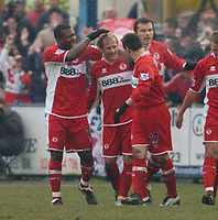 Photo: Leigh Quinnell.<br /> Nuneaton Borough v Middlesbrough. The FA Cup.<br /> 07/01/2006. Middlesbroughs Giazka Mendieta(centre) celebrates his goal with Yakubu and Doriva